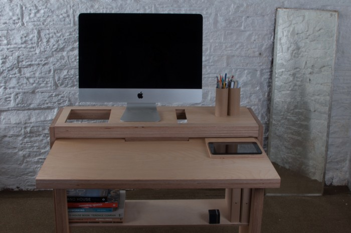 Innovative bee9 tablet desk combines efficient storage and for Small pull out desk