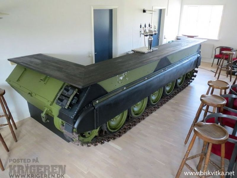 Military Man Cave Decor : A bar crafted from salvaged russian military tank
