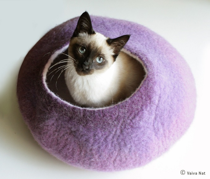 Custom Felted Cat Bed Provides Cozy Place For Your Kitty To Sleep