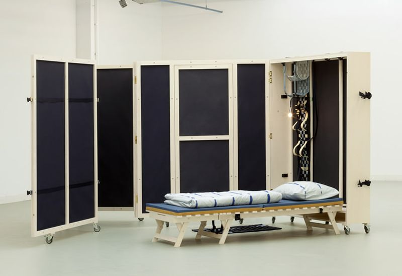 fold inn a fully portable bedroom with modular features