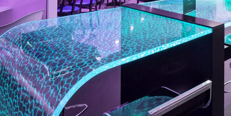 Lumiluxe table with smartphone controlled leds scatters for Table design led