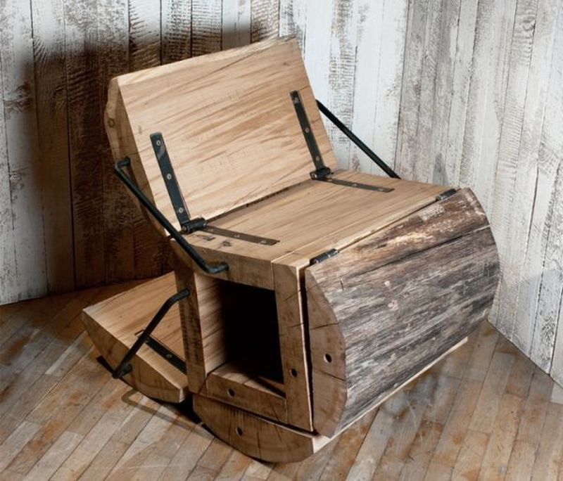 Waste Less Chair Crafted From Timber Log Sections Home