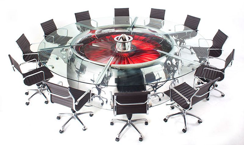 Motoart 39 s boeing 747 conference table made from authentic for Meuble authentica