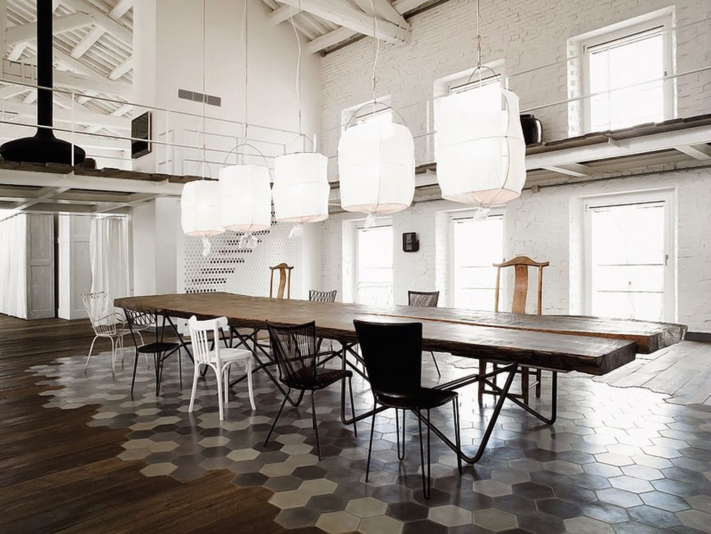 Paola navone transformed old silk factory into a for Wood floor factory