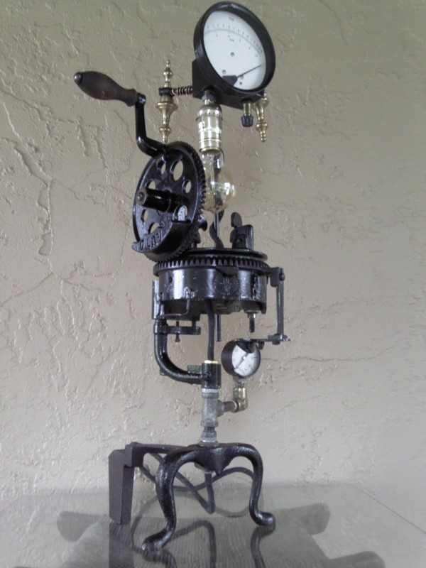 Steampunk Lamps Made From Recycled Junk Add Glamour To