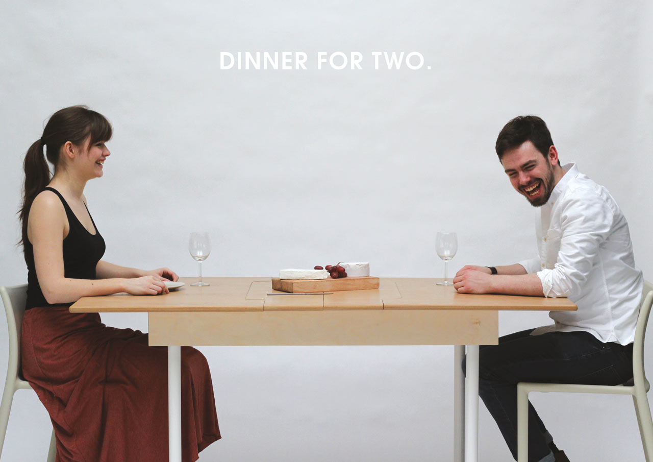 Table for two doubles as a workstation for two and dining for 10 people table