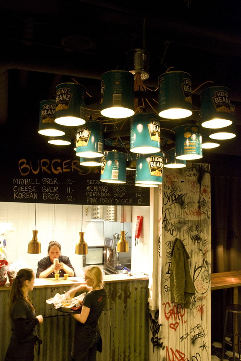 Willem heeffer uses upcycled tin cans for crafting unique diner chandeliers home crux - Can light chandelier ...