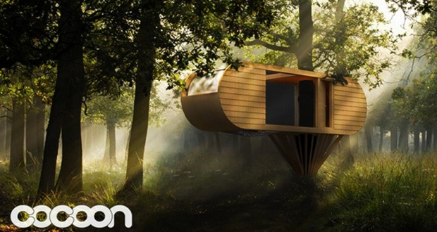 Custom-built suspended cocoon by Adam Pinkstone