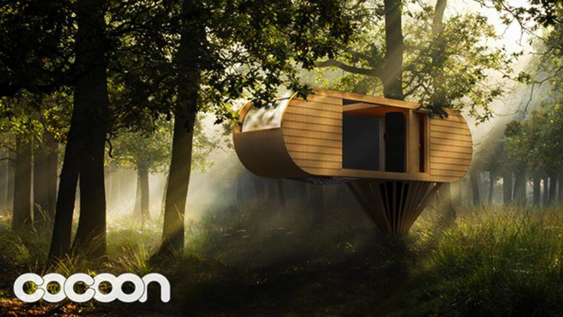 Custom-built suspended cocoon by Adam Pinkstone
