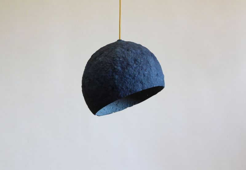 Pluto paper pulp lamp by Crea-re is handmade in Spain