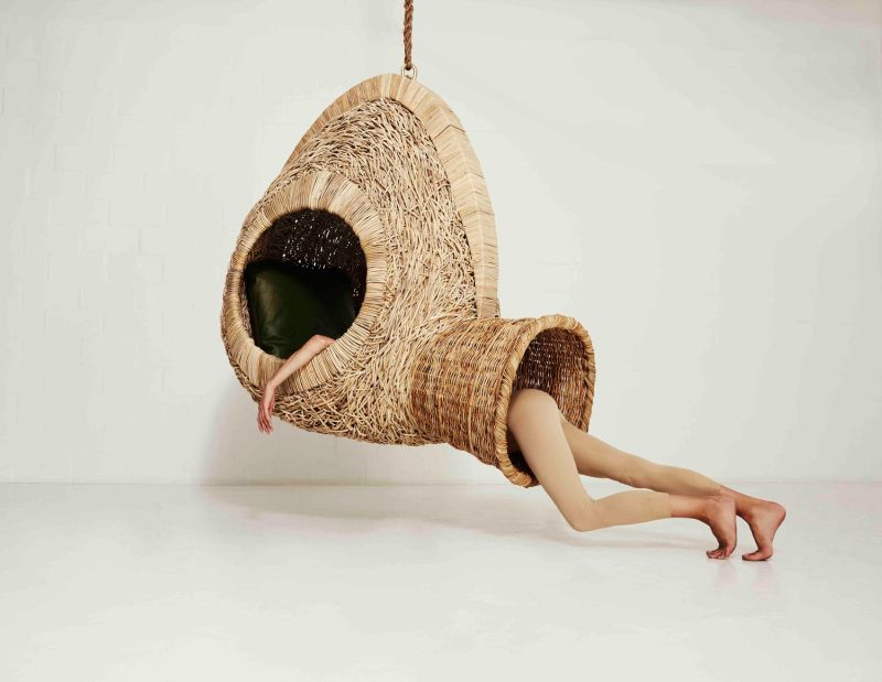 Porky Hefer's life-size nests are upright hanging chairs cozy sleeping pods