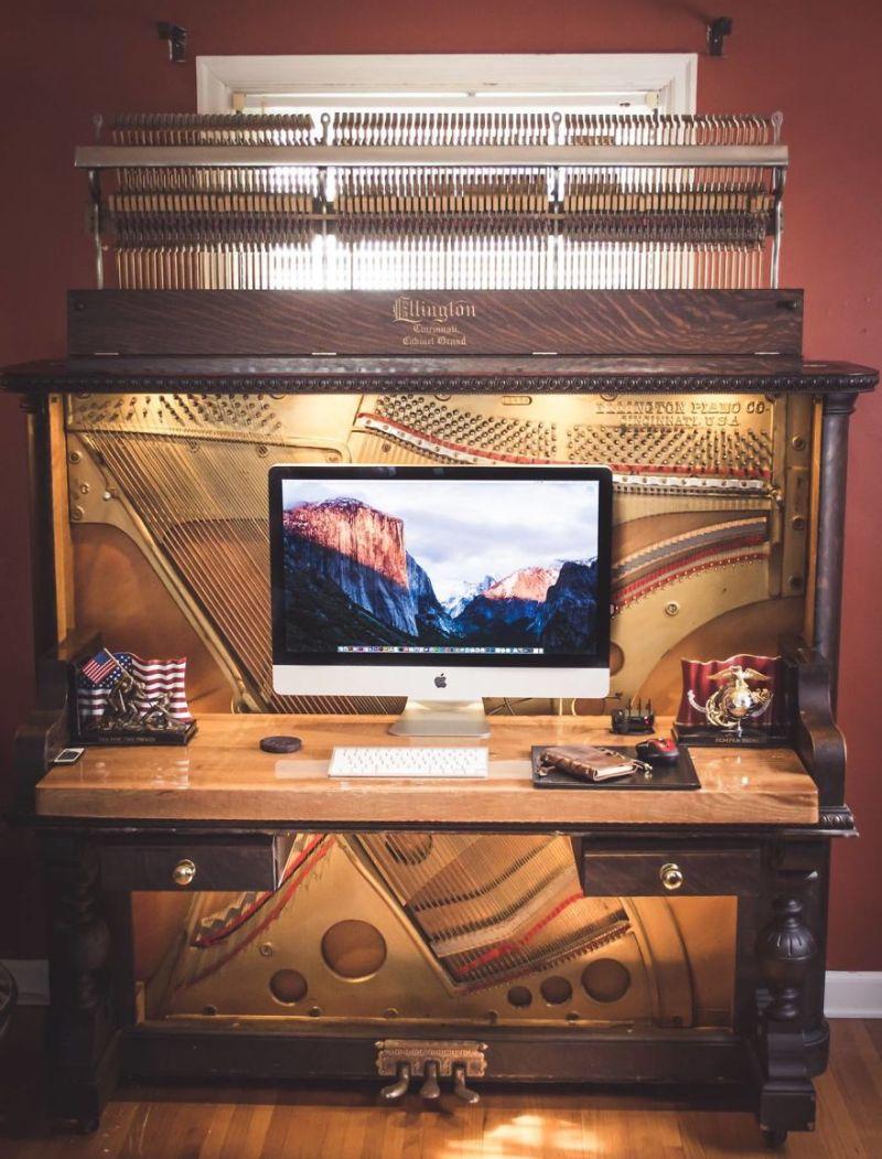 This guy repurposed old piano into DIY piano desk