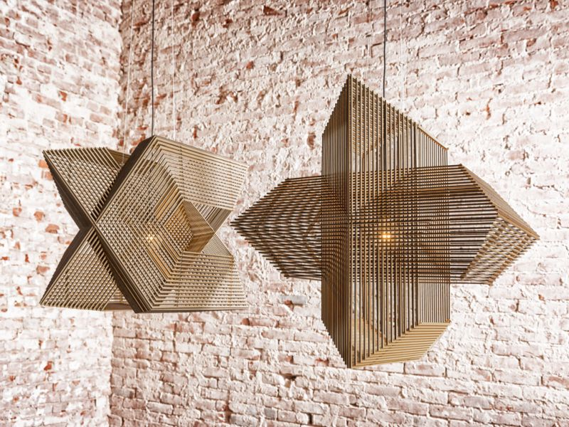 The angles pendant lamp is perfect harmony of laser cut wooden the angles pendant lamp is perfect harmony of laser cut wooden rectangles mozeypictures Images