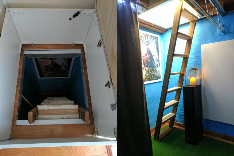 This Couple Builds A Secret Staircase To The Basement Home Theater