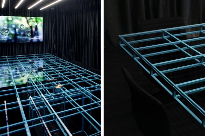 Modern X-Ray conference table by Brigada has built-in power outlets