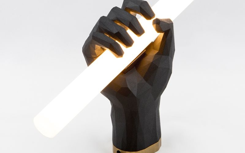 3D Printed Fist Lamp by Das Happy Medium adds character to your home