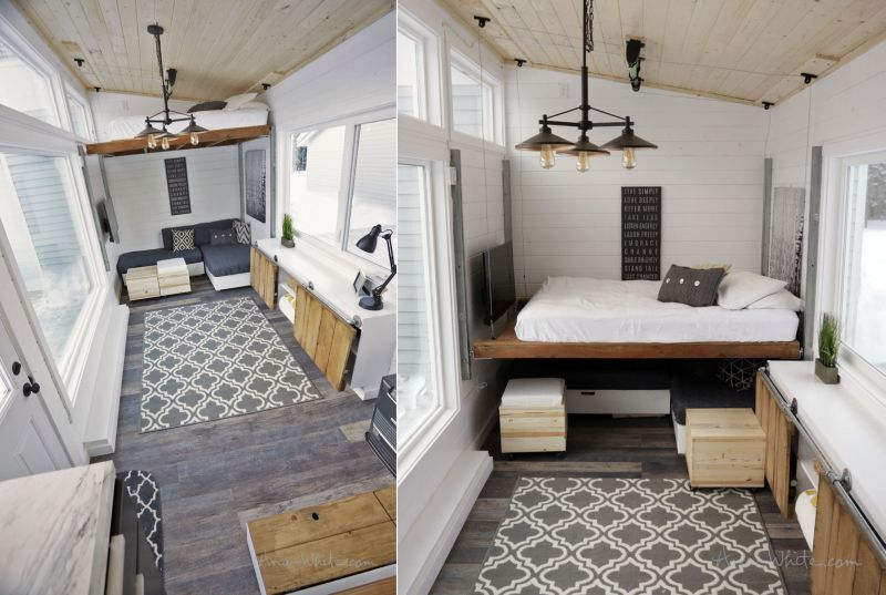 ana white 39 s open concept tiny house features lounge that
