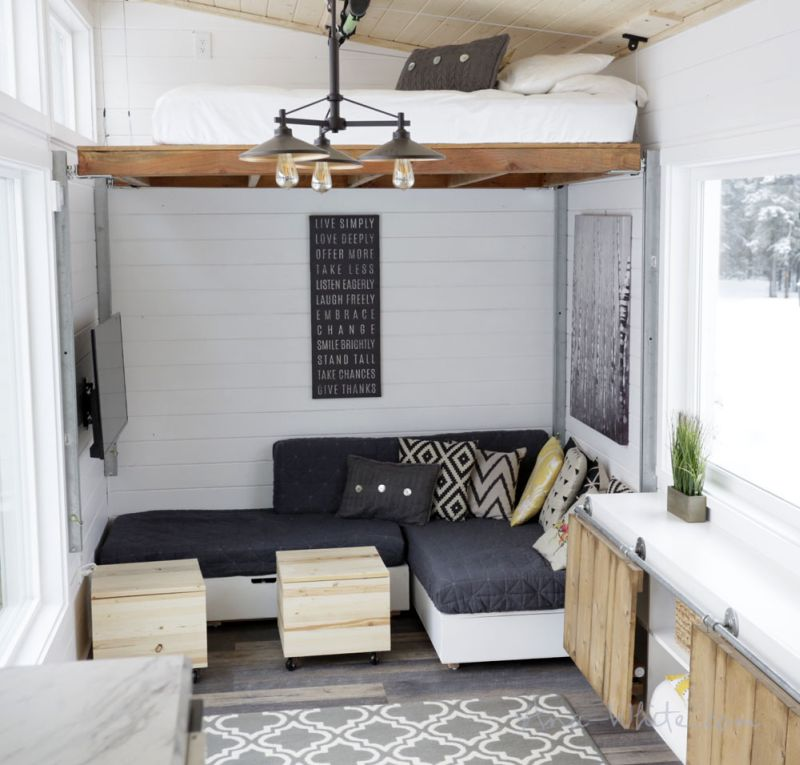 Ana Whites Open Concept Tiny House Features Lounge That