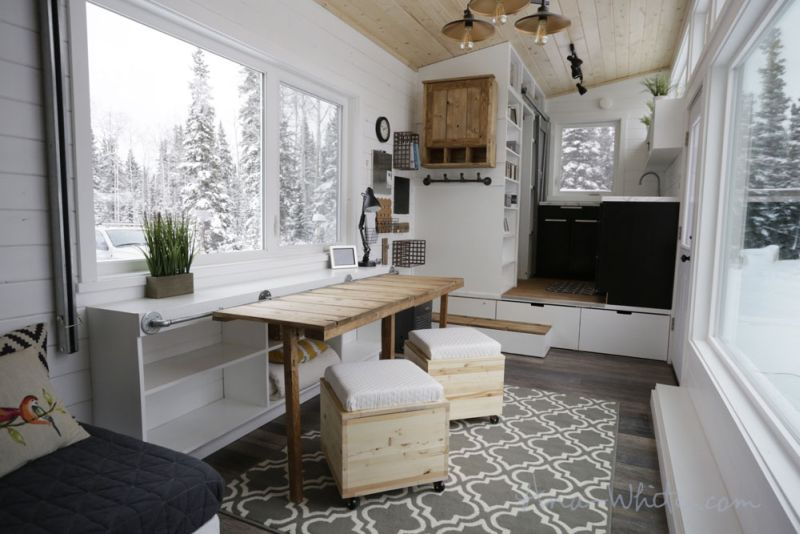 ana whiteu0027s open concept tiny house features elevator bed to save space