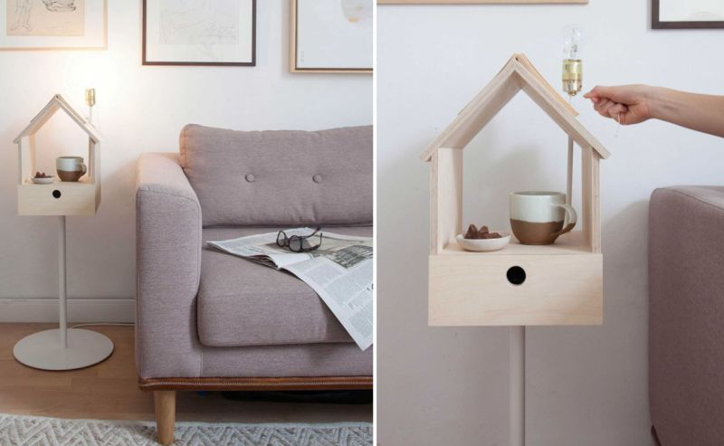 Birdhouse-shaped side table