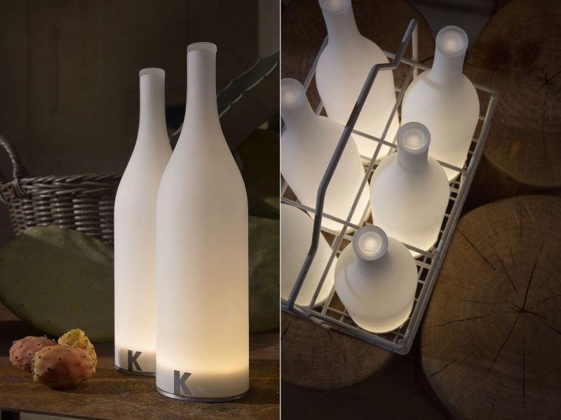 Bottle-shaped Bacco rechargeable table lamp by Karman
