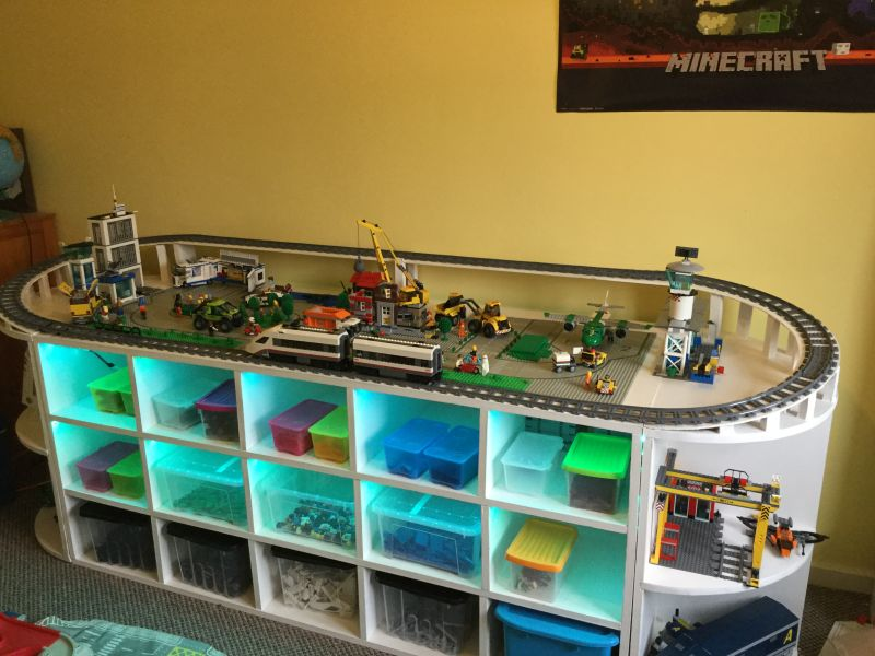 Diy Lego Table With Train Track And Storage Space For Toys