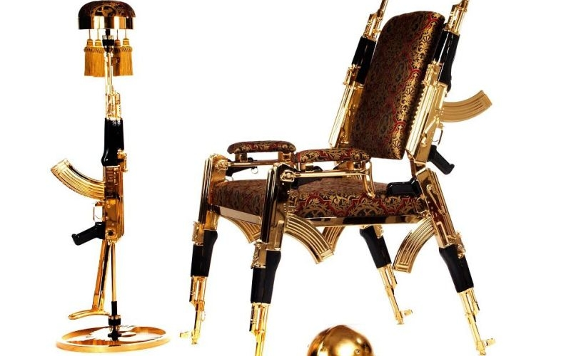 Weber Rainer's gold-plated AK-47 chair will burn a hole in your pocket!