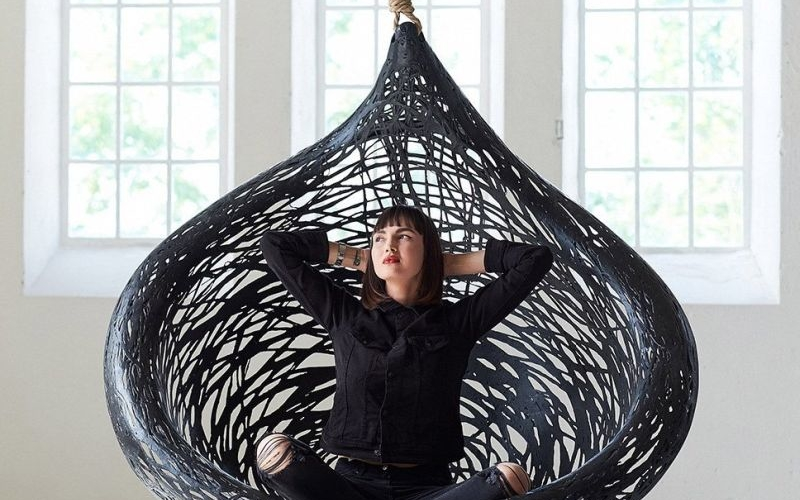 Ibis hanging chair by Raimonds Cirulis is made of volcanic rock