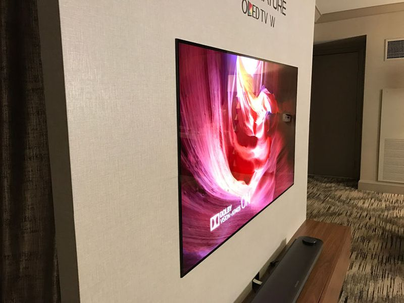 LG's W7 Wallpaper OLED almost blends into a wall with magnets