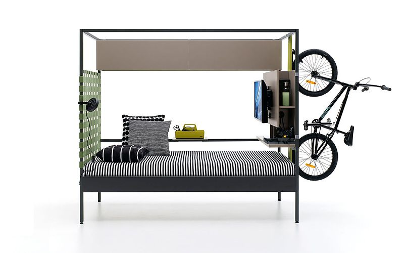 This Multifunctional Bed Holds Your Bike And Has A TV Too