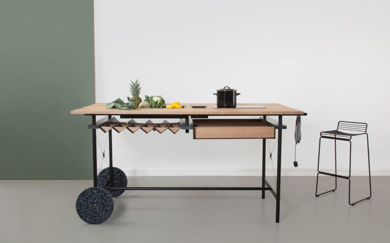 Freestanding OIKOS kitchen island made for flexible workspaces