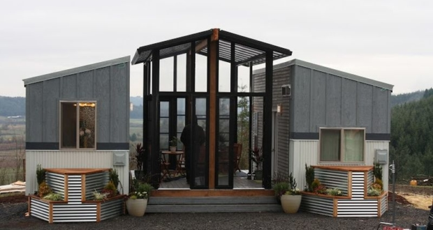 Ohana Tiny House Features A Patio Sandwitched Between Two
