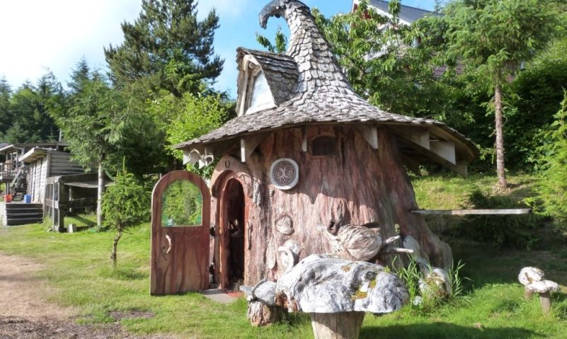 real life hobbit house built out of a single tree trunk