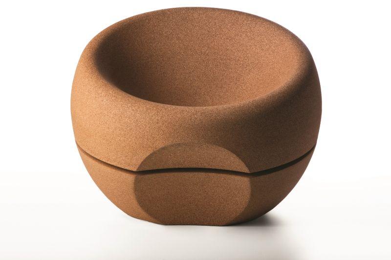 Spherical cork chair by Miguel Arruda
