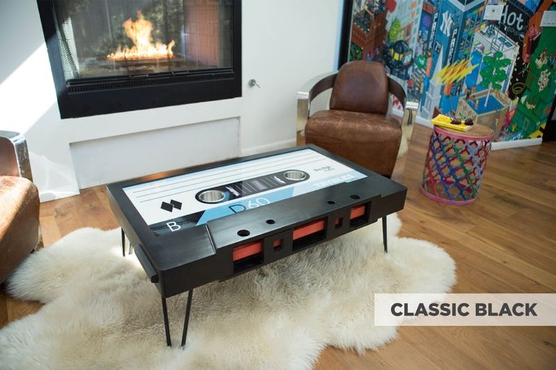 Taybles cassette tape coffee table brings back memories of for Retro 80s furniture