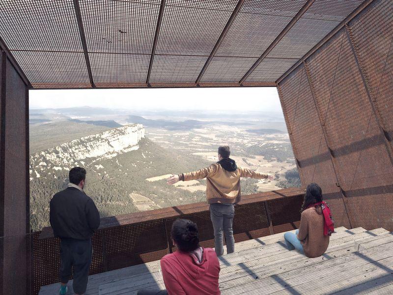 Tip-box hut perched on a cliff ensures you get vertigo