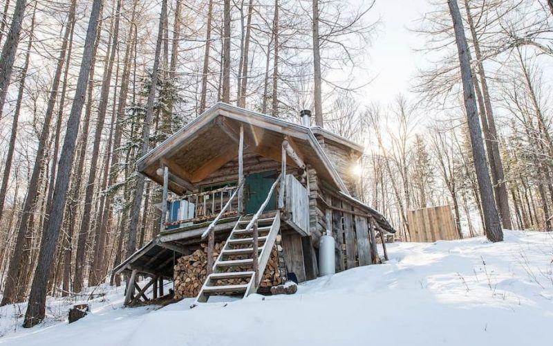 log cabin in bolton, vermont