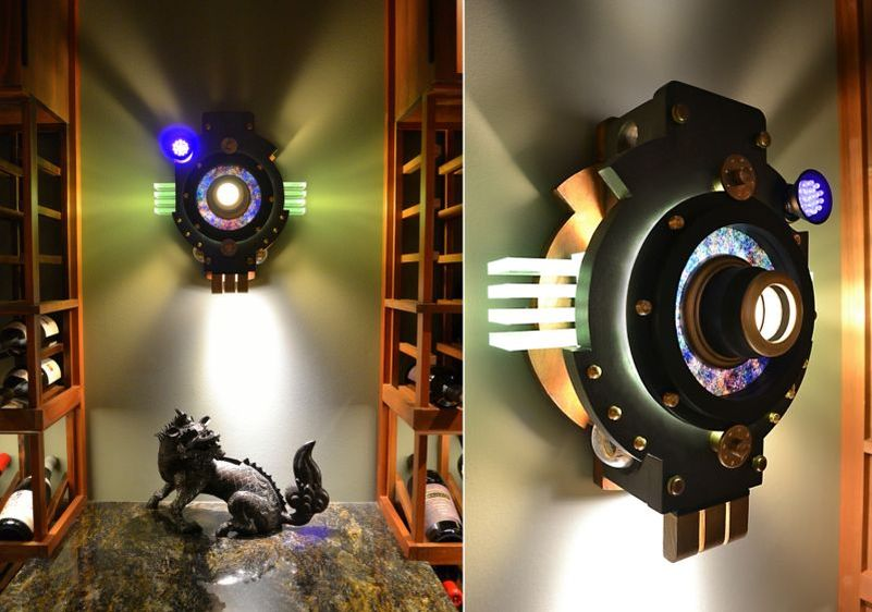 Art Donovan designs cool steampunk lamps for a wine cellar in Wisconsin_4