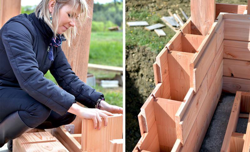Brikawood interlocking wooden bricks help build house without nails or screws