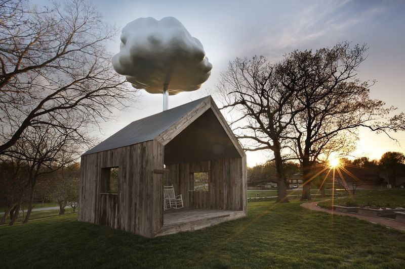 Cloud House: Reclaimed wood shed harvests rainwater to create artificial rainfall