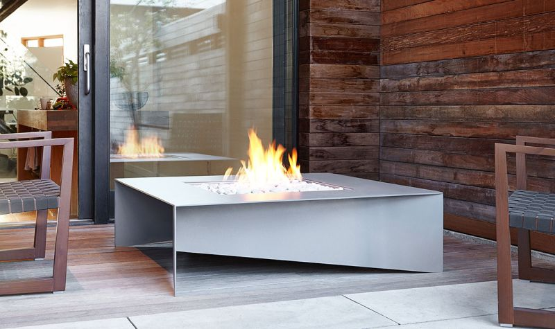 Fold outdoor fire table by Paloform