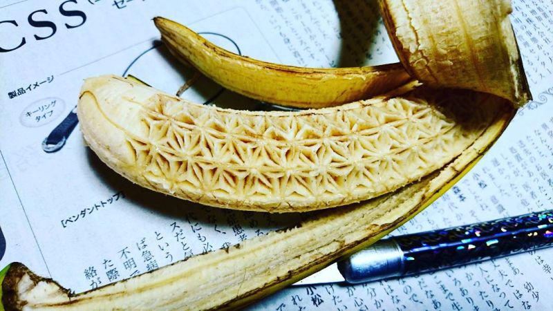 Japanese food artist Gaku carves appealing textures on fruits and vegetables