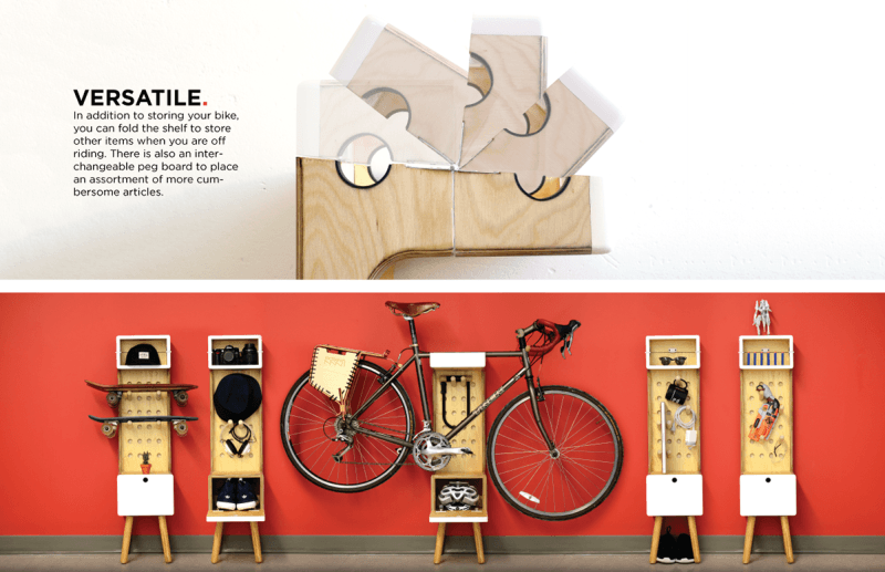 Multi-functional freestanding bike shelf by Marc V Brosseau