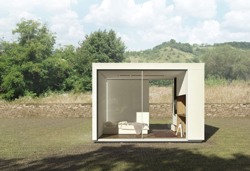 Prefab backyard cabin by Cover is made of pre-insulated steel panels