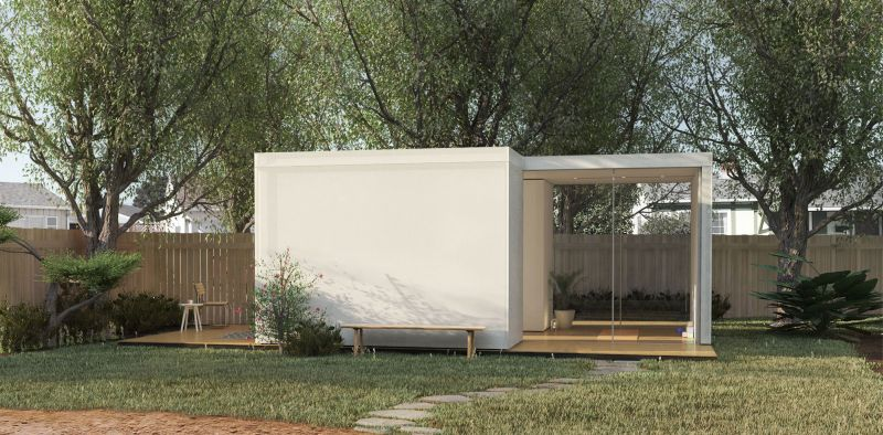 Prefab backyard cabin by cover is made from pre insulated for Prefab studio cottage