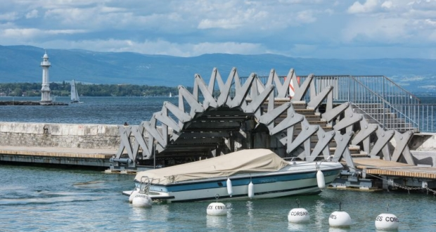 shape changing bridge makes it easy for disabled to access jet d eau fountain in geneva. Black Bedroom Furniture Sets. Home Design Ideas