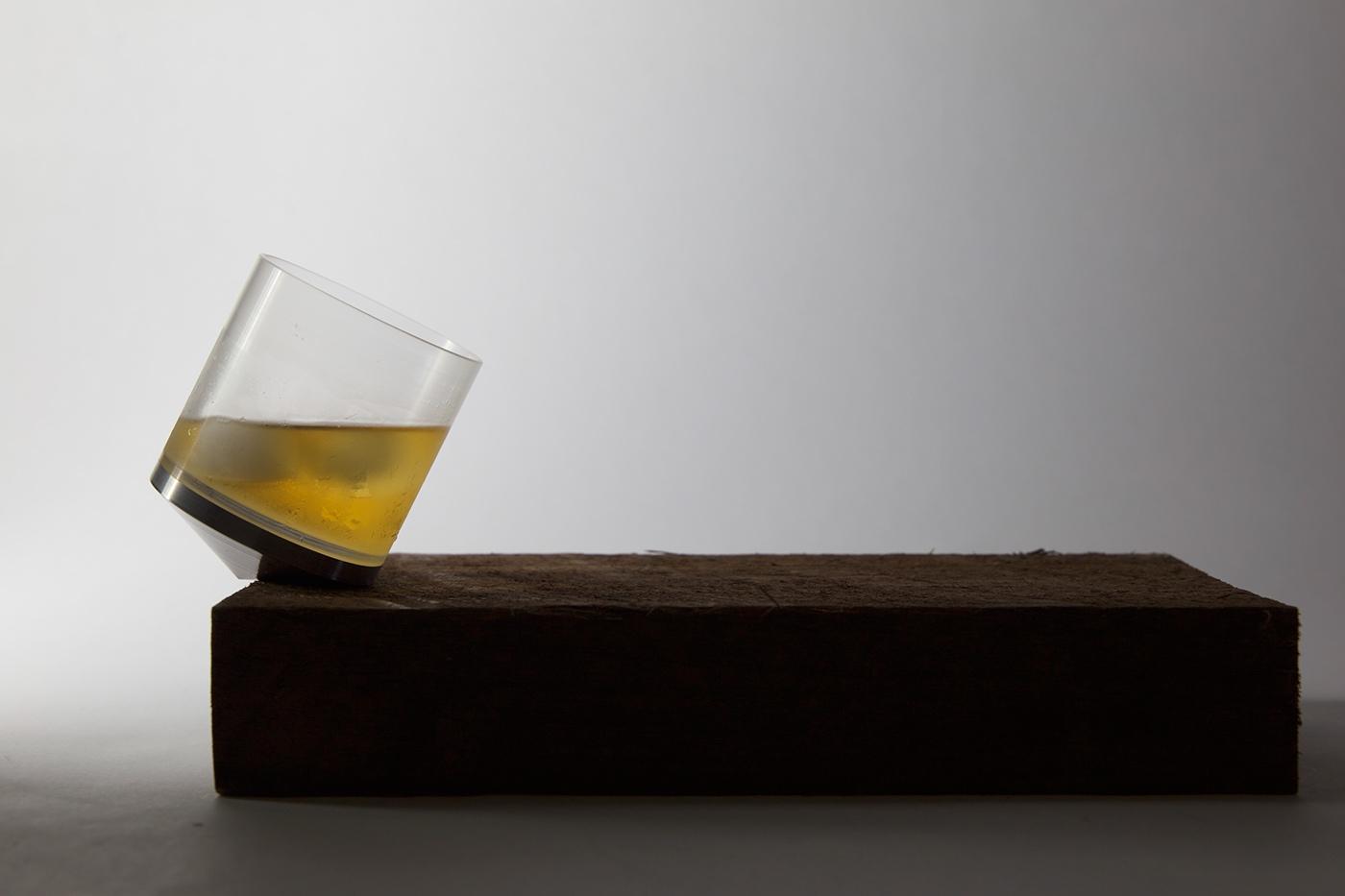 Tipsy rocking whisky glass by Pezanne Khambatta