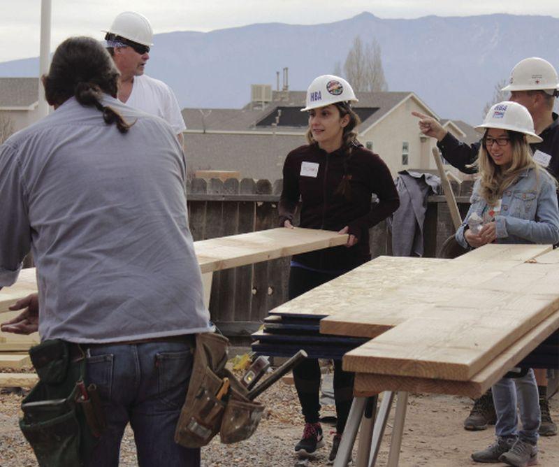 A team building Hannah's Playhouse