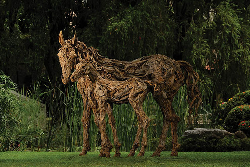 Life-size driftwood sculptures by James Doran-Webb