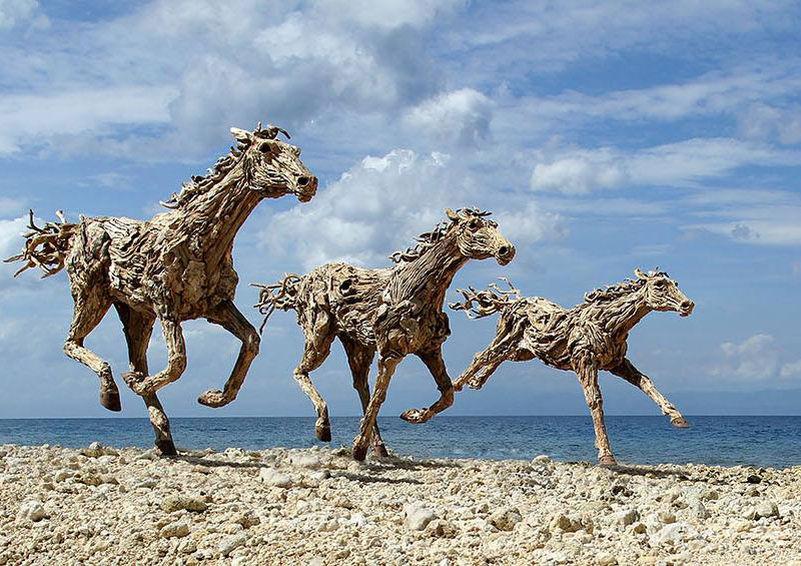 Driftwood sculptures by James Doran-Webb